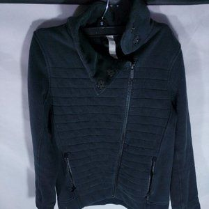 LULULEMON black quilted knit offset zip Jacket 2